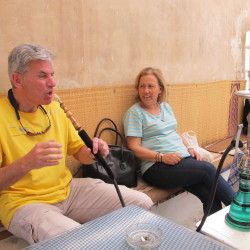 Frank trying shisha for the first time, In Salma's husband's cafe in the Medina in Sfax